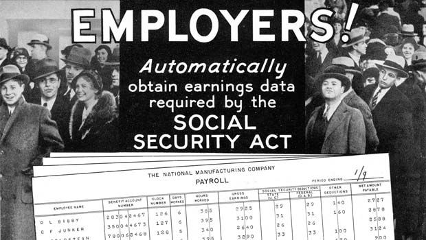 IBM Ad: Employers Automatically obtain earnings data required by the Social Security Act.