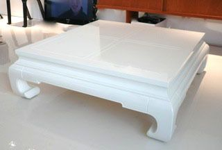 Scavenger Chinoiserie White Lacquer Coffee Table For 350