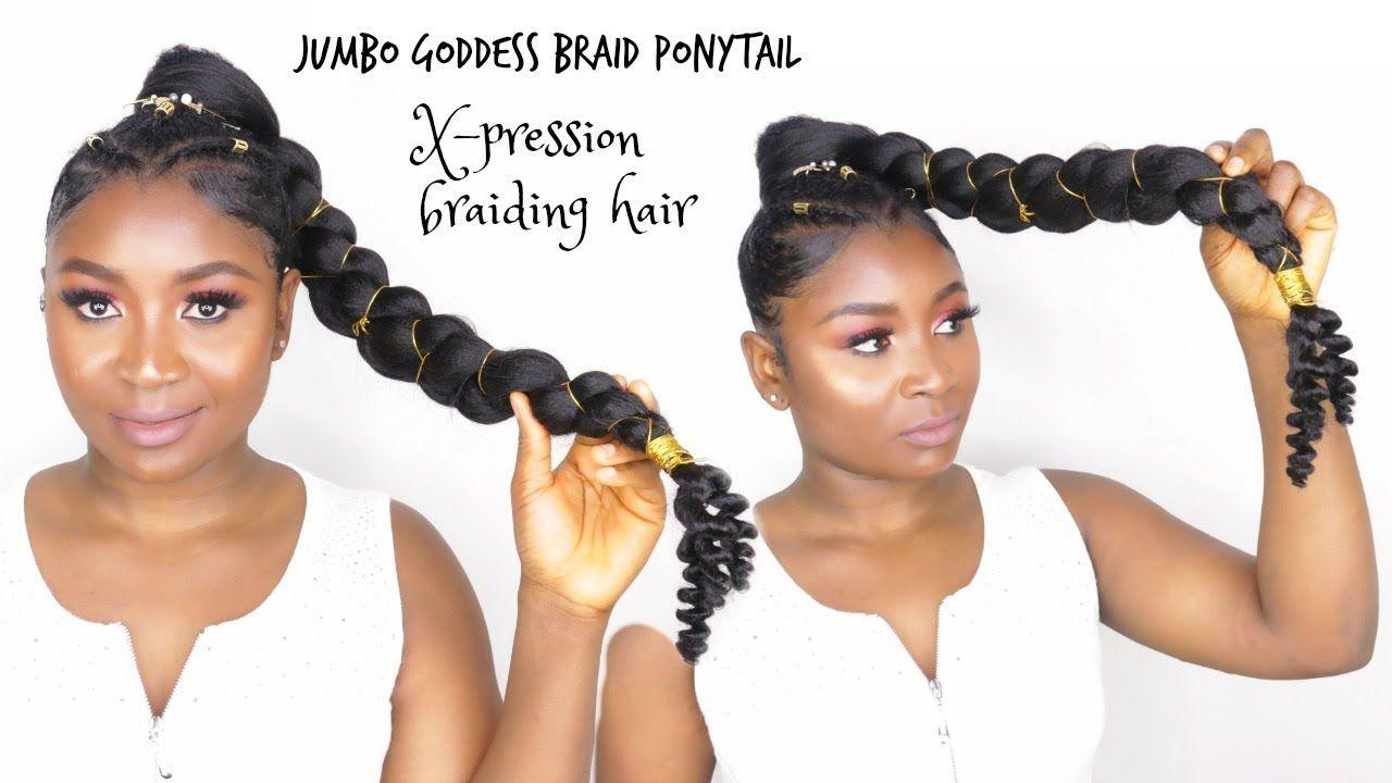 How To Do Jumbo Goddess Braid Ponytail With X Pression Braiding Hair Youtube Goddess Braid Ponytail Goddess Braids Braided Hairstyles