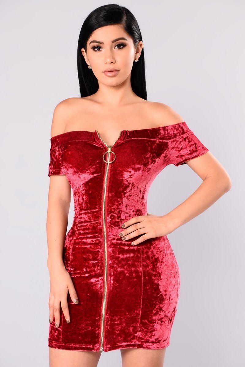 Kaylin Velvet Dress Red Red velvet dress, Velvet dress