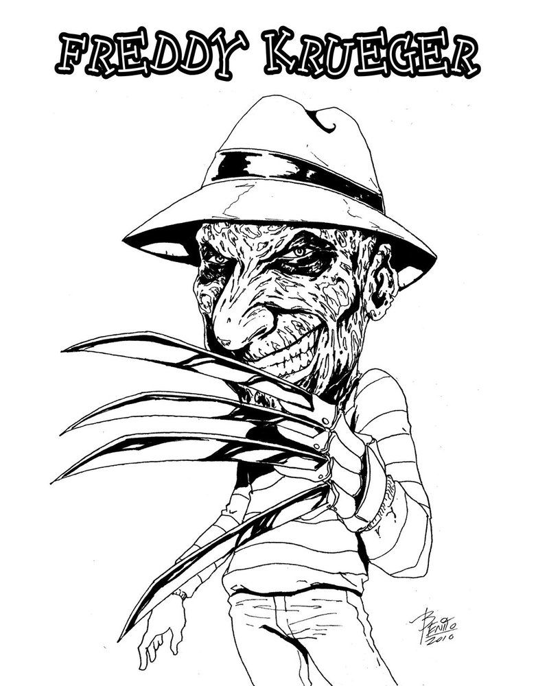 Freddy Krueger Coloring Page Coloring Page Horror Coloring Pages