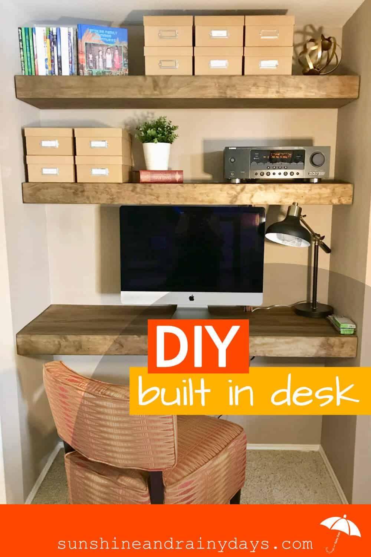 Diy Floating Built In Desk And Shelves Built In Desk Desk Nook Diy Nook