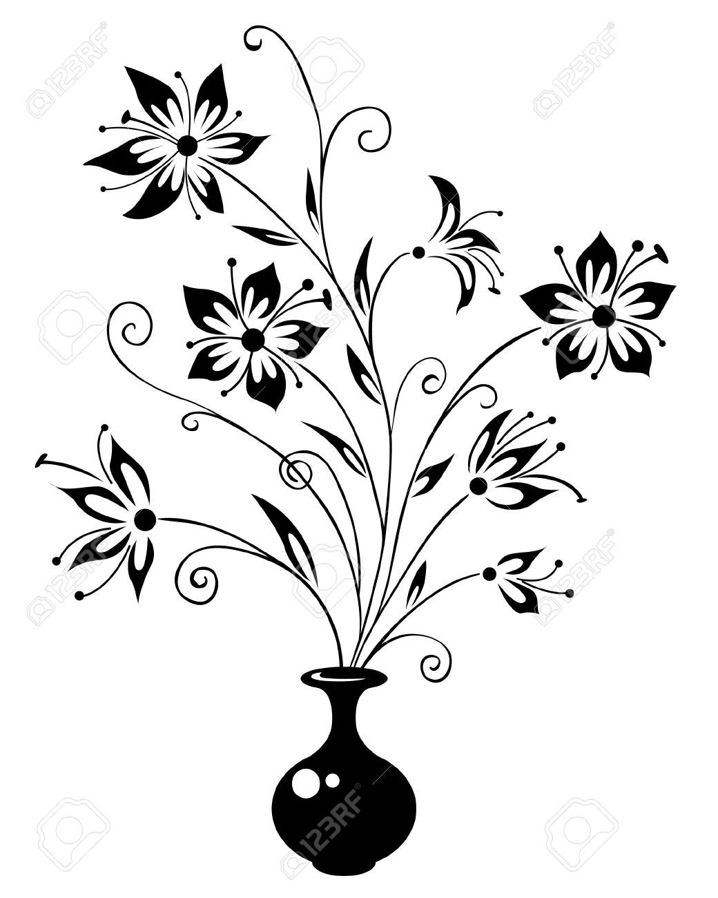 Bouquet flowers a vase drawing a vase stock vector illustration bouquet flowers a vase drawing a vase stock vector illustration ccuart Images