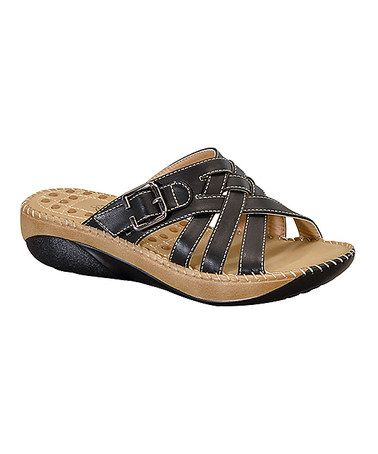 55f90a00bc35 Look what I found on  zulily! Black Buckle Nora Sandal  zulilyfinds ...