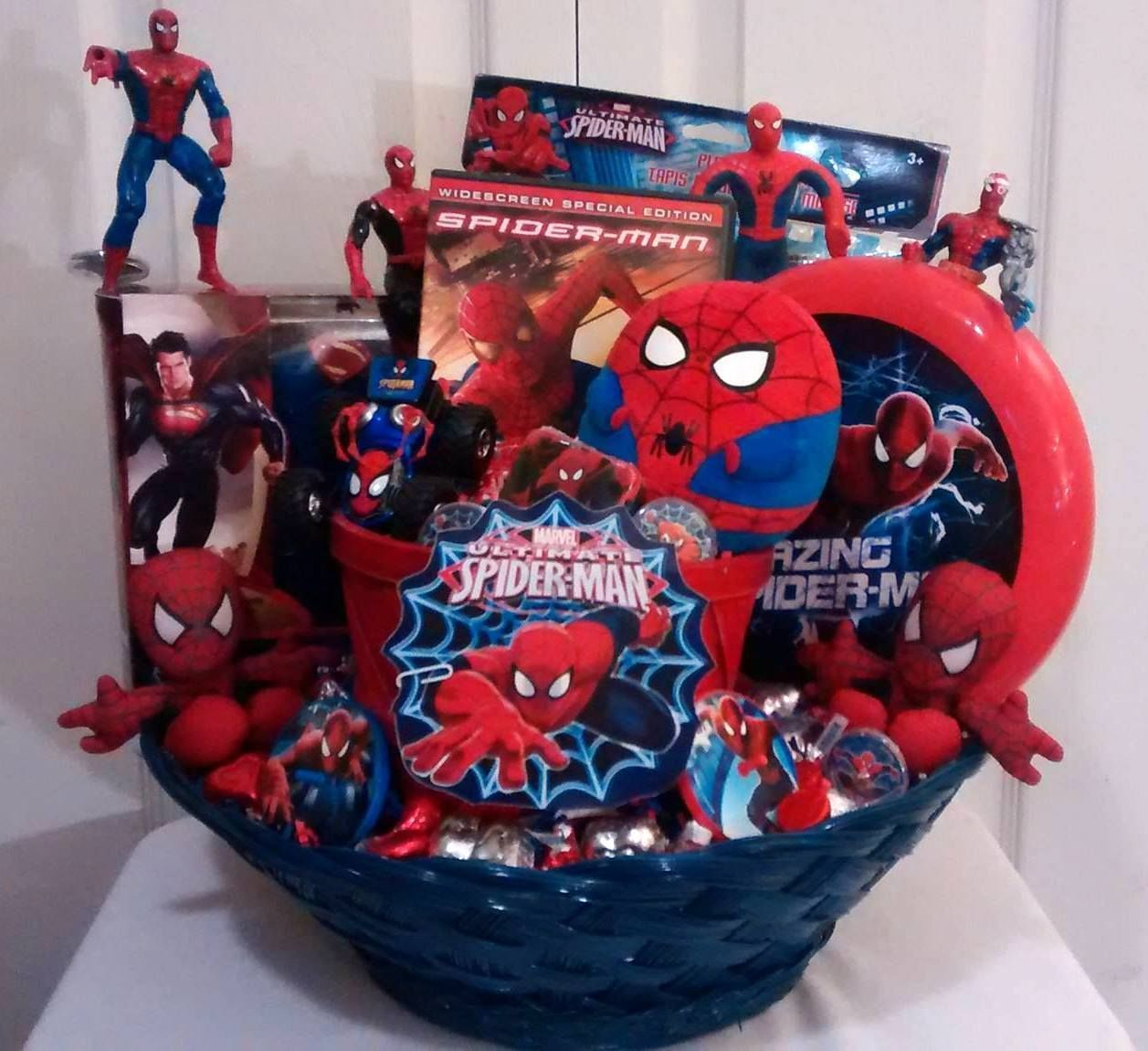 Now 60 sale spiderman blue red kids lg gift basket small where you will find highly unique handmade personalized and custom built gift basket creations for anyone and any occasion negle Images