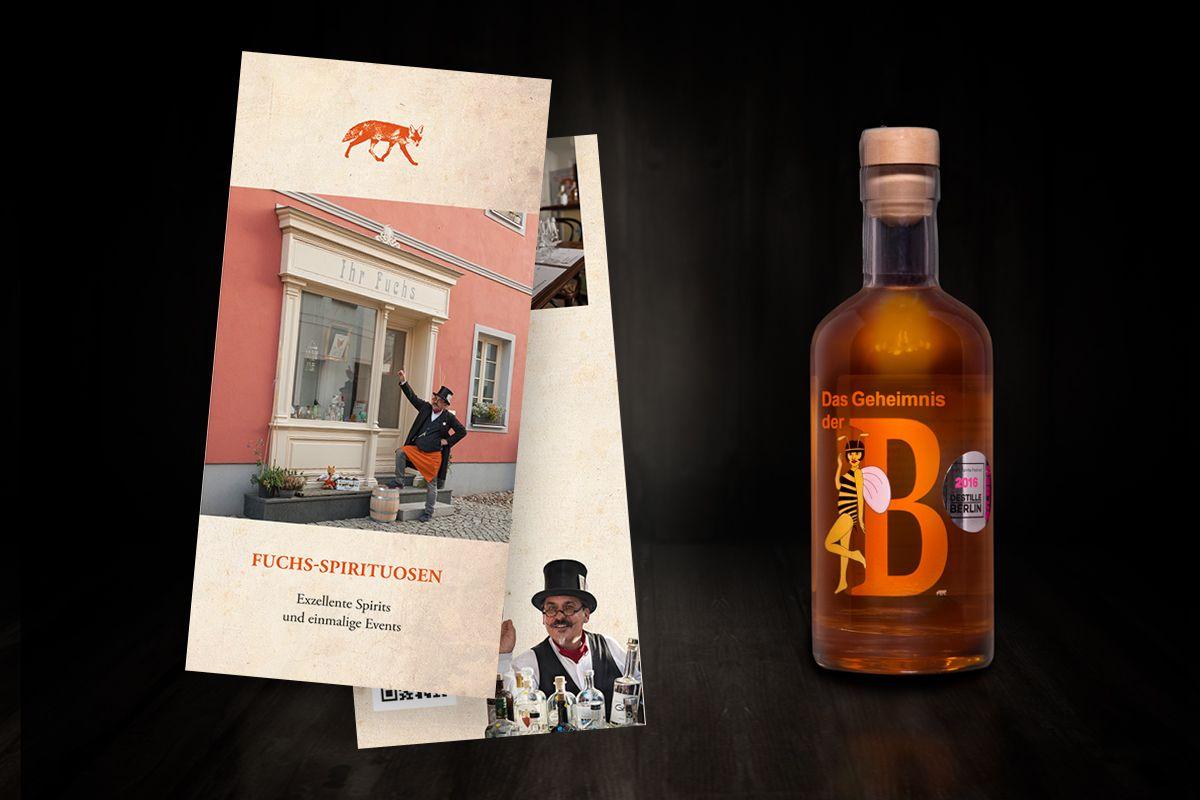 Produktfotos und Printmaterial für Fuchs Spirituosen