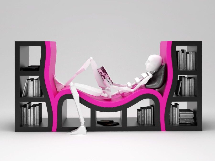 Very Nice Bookchair Not Sure Id Want The Skeletonthing Though - Bookchair combined with bookshelf