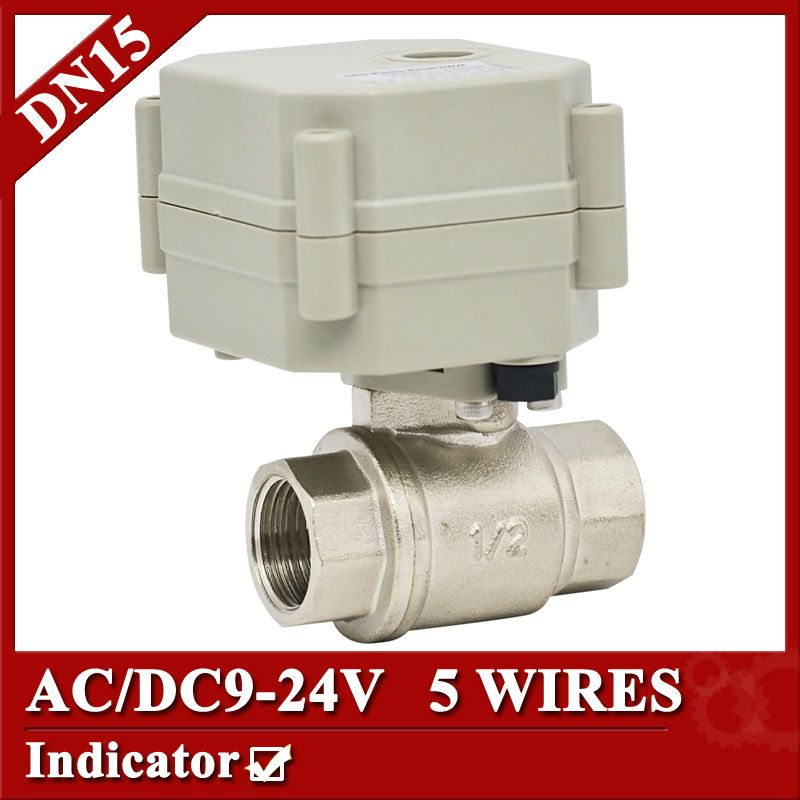 1 2 Ss304 Electric Valve 2 Way Ac Dc9 24v Motorized Valve 5 Wires With Signal Feedback And Indicator For Water Control Electricity Valve Stainless