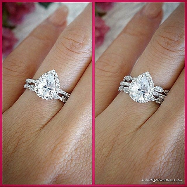 One Or Two Bands This Is The 1 5 Ct Pear Halo Ring With Art