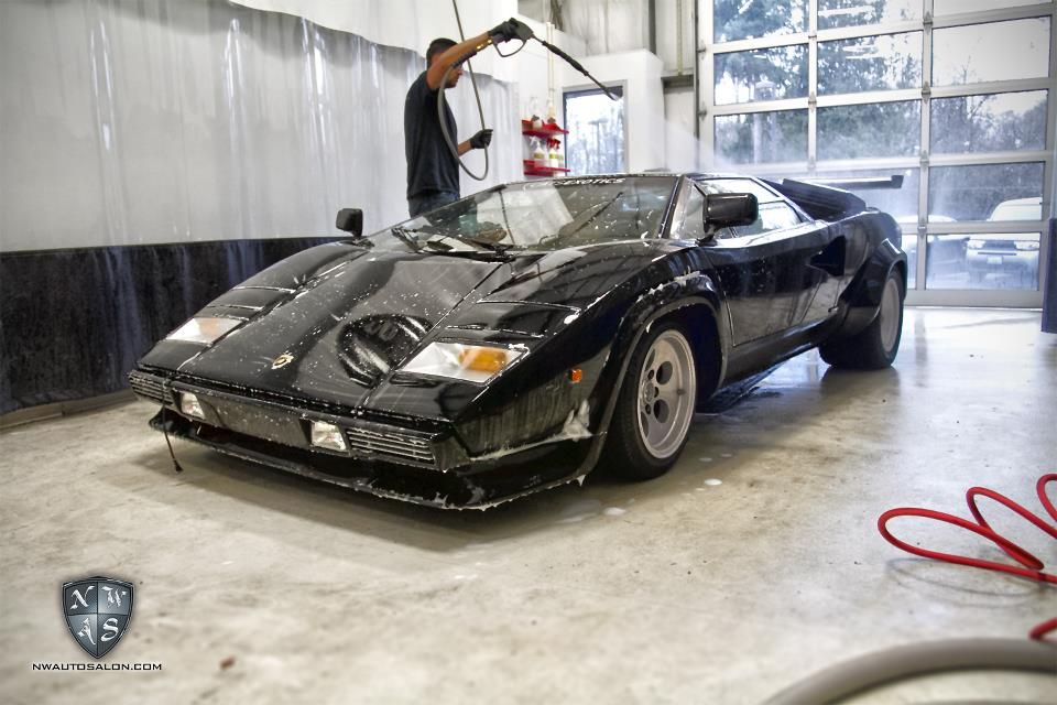 Black Countach getting in the wash bay