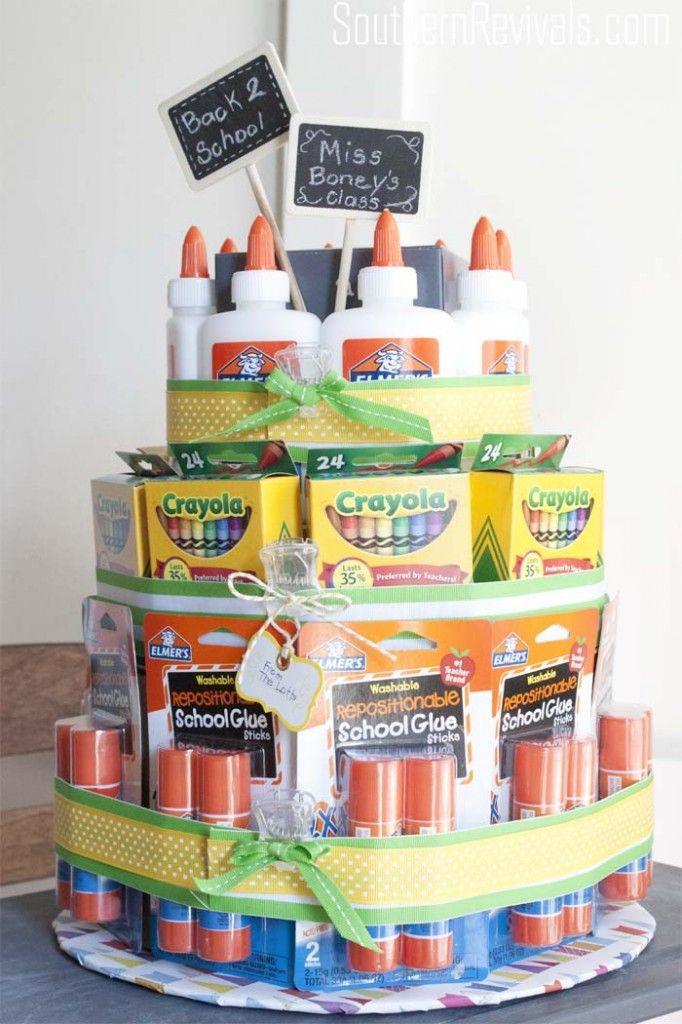DIY School Supplies Cake Teacher's Gift #teachergifts