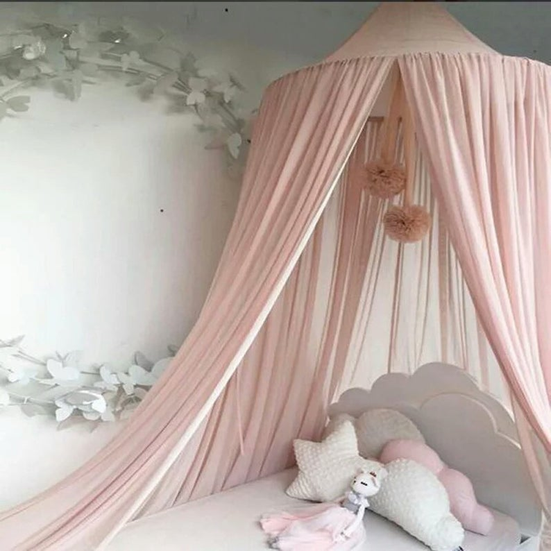 Grey Dome Princess Bed Canopy Cotton Mosquito Net Kids Play Tent Curtains Room Decoration for Baby Indoor Outdoor Playing Reading Height 240cm