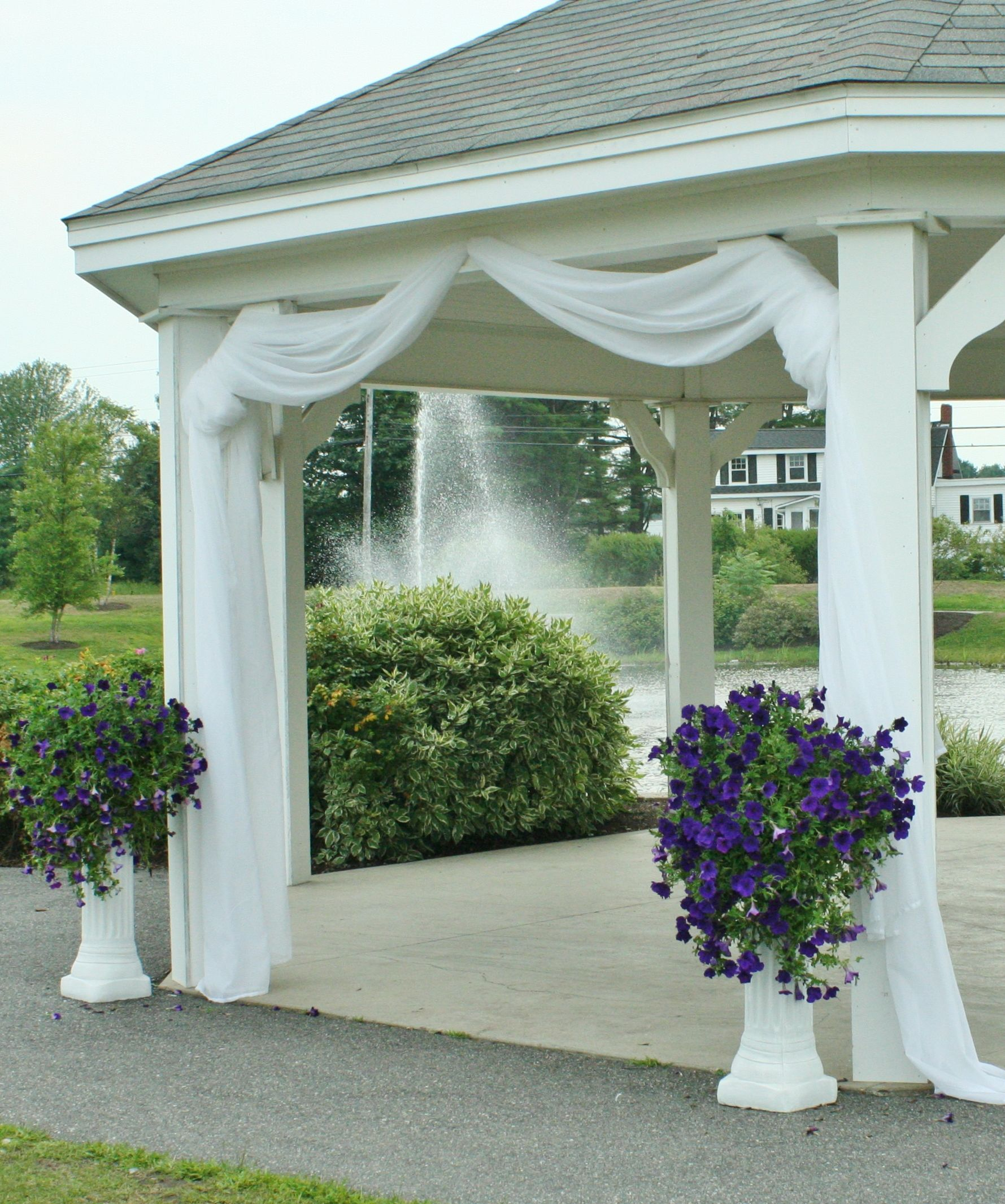 use fabric tulle to decorate gazebo maybe just at the