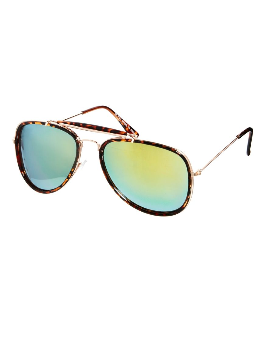 7a199dbbebae ASOS | ASOS High Bar Aviator Sunglasses With Mirrored Lens at ASOS ...