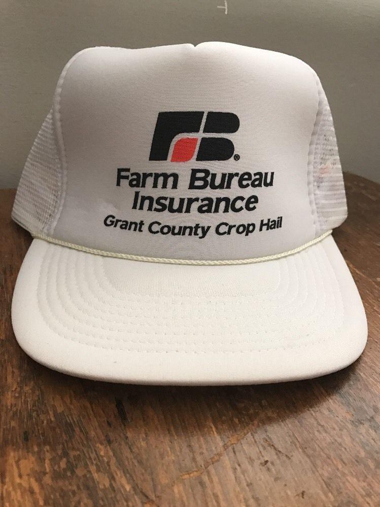 deb20e774d8 Vintage Farm Bureau Snapback Trucker Hat Grant County Crop Hail Kansas