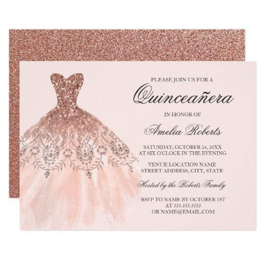 Rose gold sparkle dress quinceanera invitation pinterest rose gold sparkle dress quinceanera invitation solutioingenieria Image collections