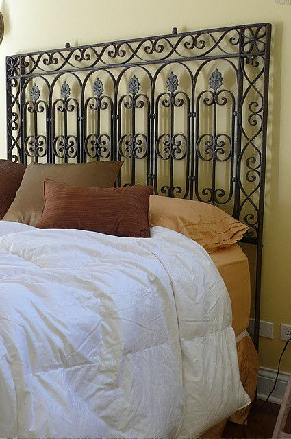 Repurposed Rough Luxe Headboard For Deni Repurposed From A Salvaged Antique Railing Headboard Alternative Iron Headboard Wrought Iron Headboard