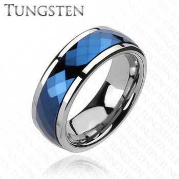 blue tungsten spinner multi faceted silver and blue tungsten carbide spinning center band
