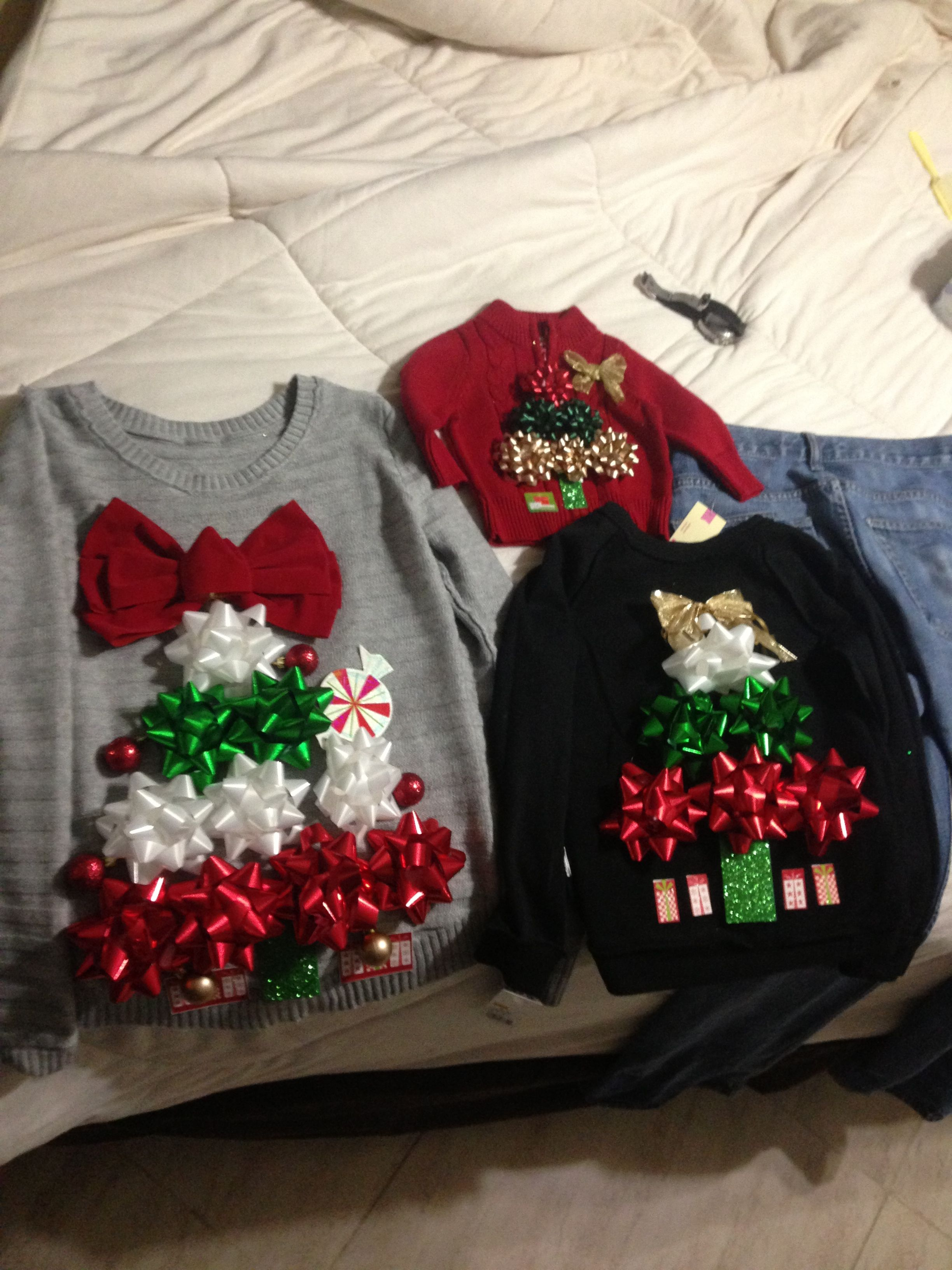Tacky Christmas Sweater Party Ideas Part - 45: DIY Ugly Christmas Sweaters Using Gift Bows And Double Stick Tape.