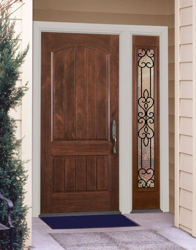 Natural wood front door design home pinterest wood for Office main door design