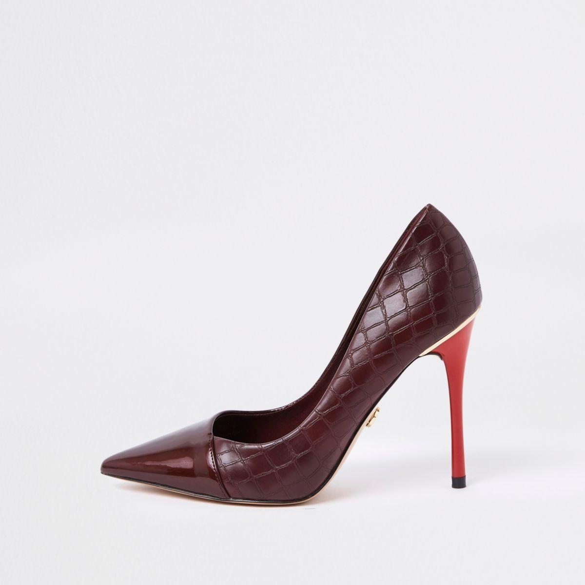 11dcdd58b7fd4d Dark red croc print wrap around court shoes