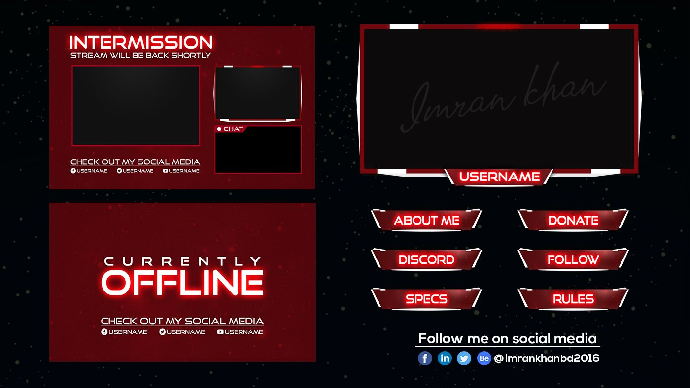 Design premium twitch overlays pack and logo for streamer