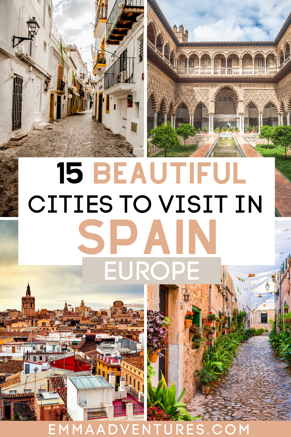 The ultimate Spain travel bucketlist! These are 15 of the best places to visit in Spain! The top cities to see in Spain that you can't miss! Your ultimate guide to everything to see and do in Spain! Spain travel guide, best places in Spain, beautiful places in Spain, best cities in Spain, what to do in Spain.