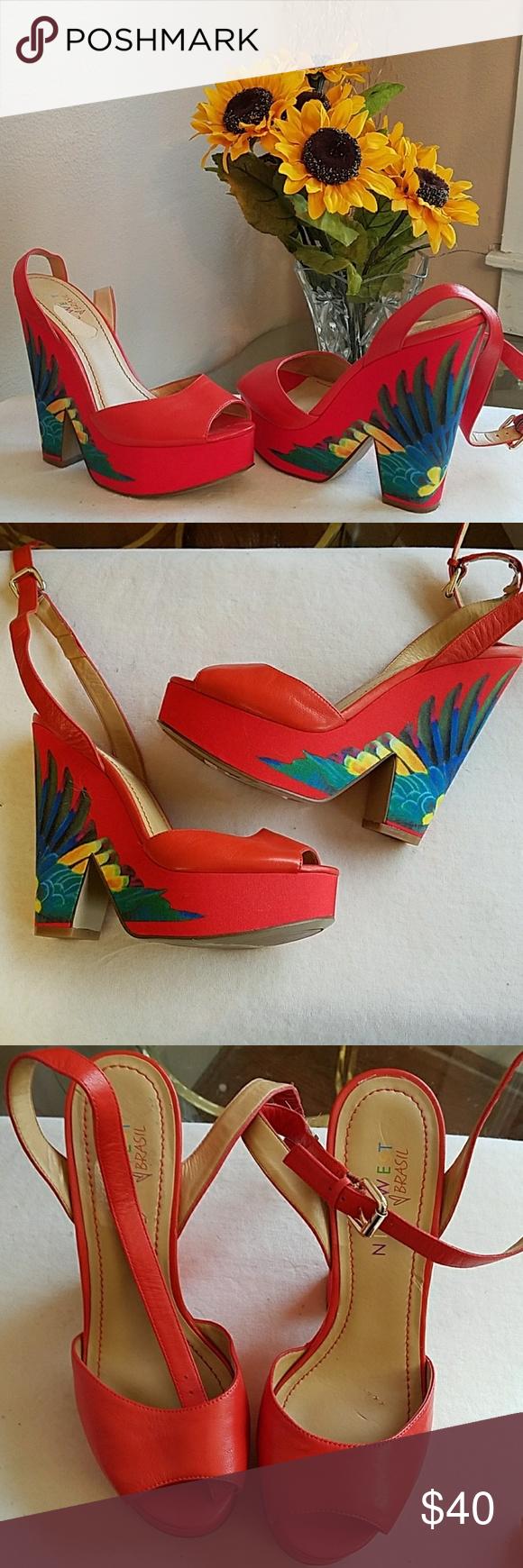 82d76c34d9203 NWT Nine West Brazil platform heels Gorgeous Nine West Brazil platform  heels. Never worn Flaws inside straps are peeling (from storage) pics 7   8 Nine  West ...