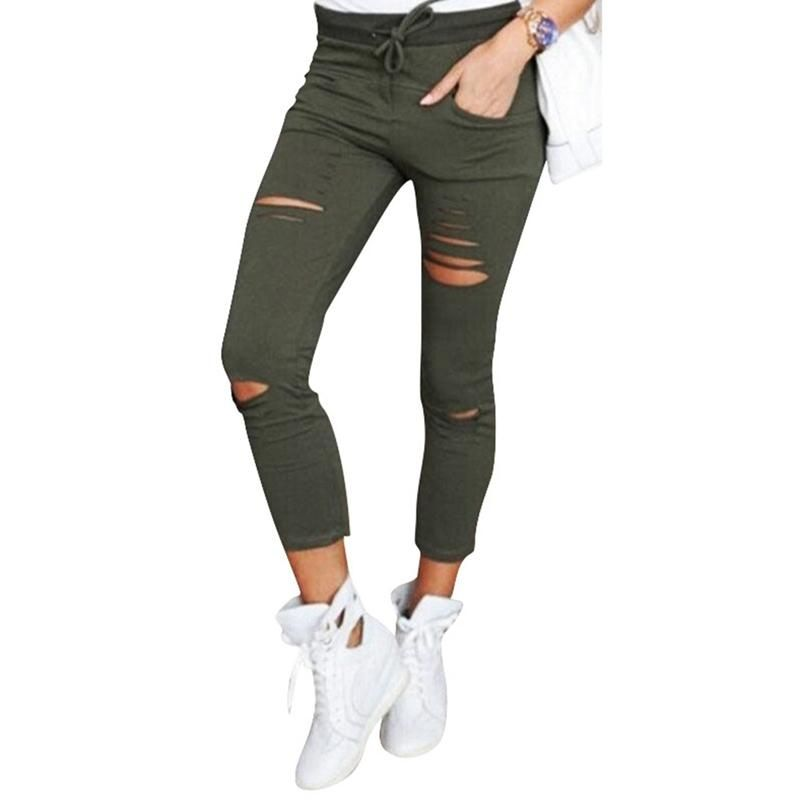 4b02ace467c Women Cool Ripped Knee Cut Leggings Jeans Skinny Hole Jeans Pants Slim  Pencil Plus Size Trousers
