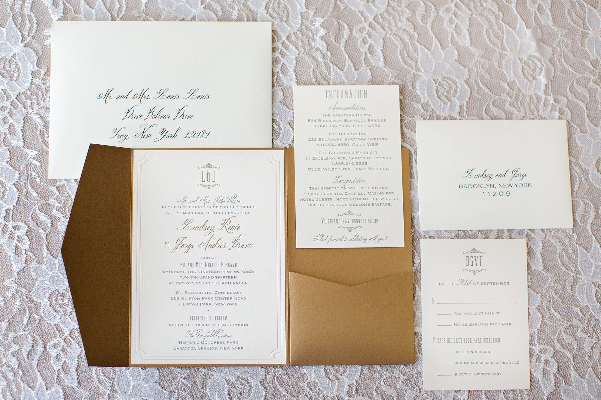 classic and elegant silver pocket wedding invitation with blue ...