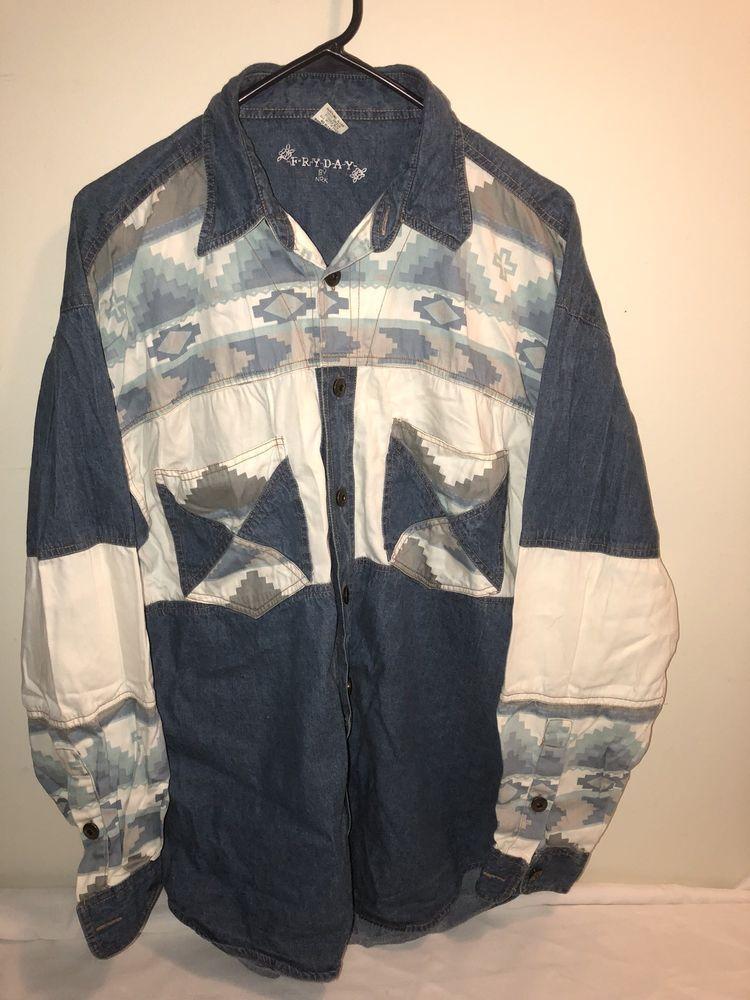 66ca715ceb3 Vintage FryDay By NRK Aztec Western Denim Shirt L Blue Button Up Western  Cotton #FryDay #Western