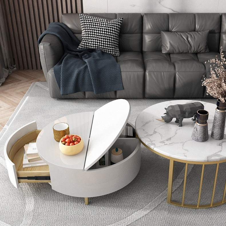 Modern White Walnut White Round Coffee Table With Storage Wood Rotating Marble Nesting Coffee Table In Rose Gold Set Of 2 In 2020 Nesting Coffee Tables Coffee Table Gold Nesting Coffee Table