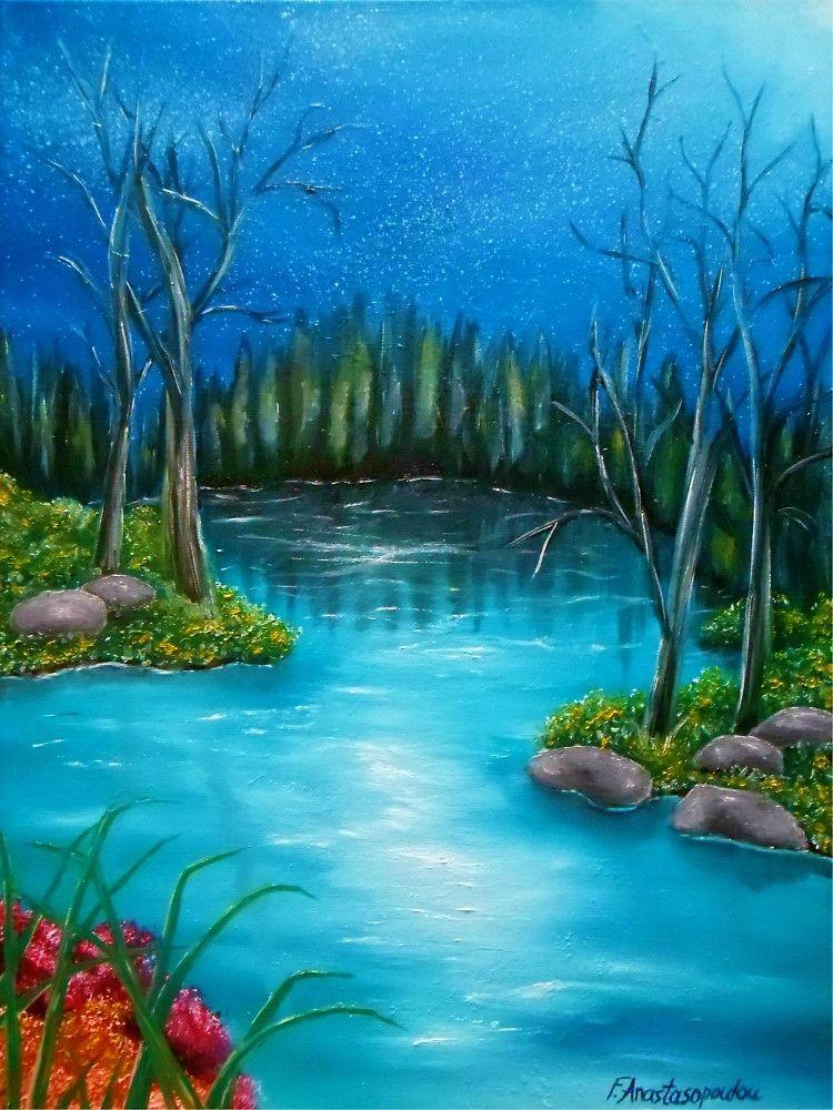 River Painting Forest Scene Scenery Blue Night Starry Sky Nature Natural Environment Artwork For Sale Home Fine Art Painting Oil Fine Art Landscape Fine Art