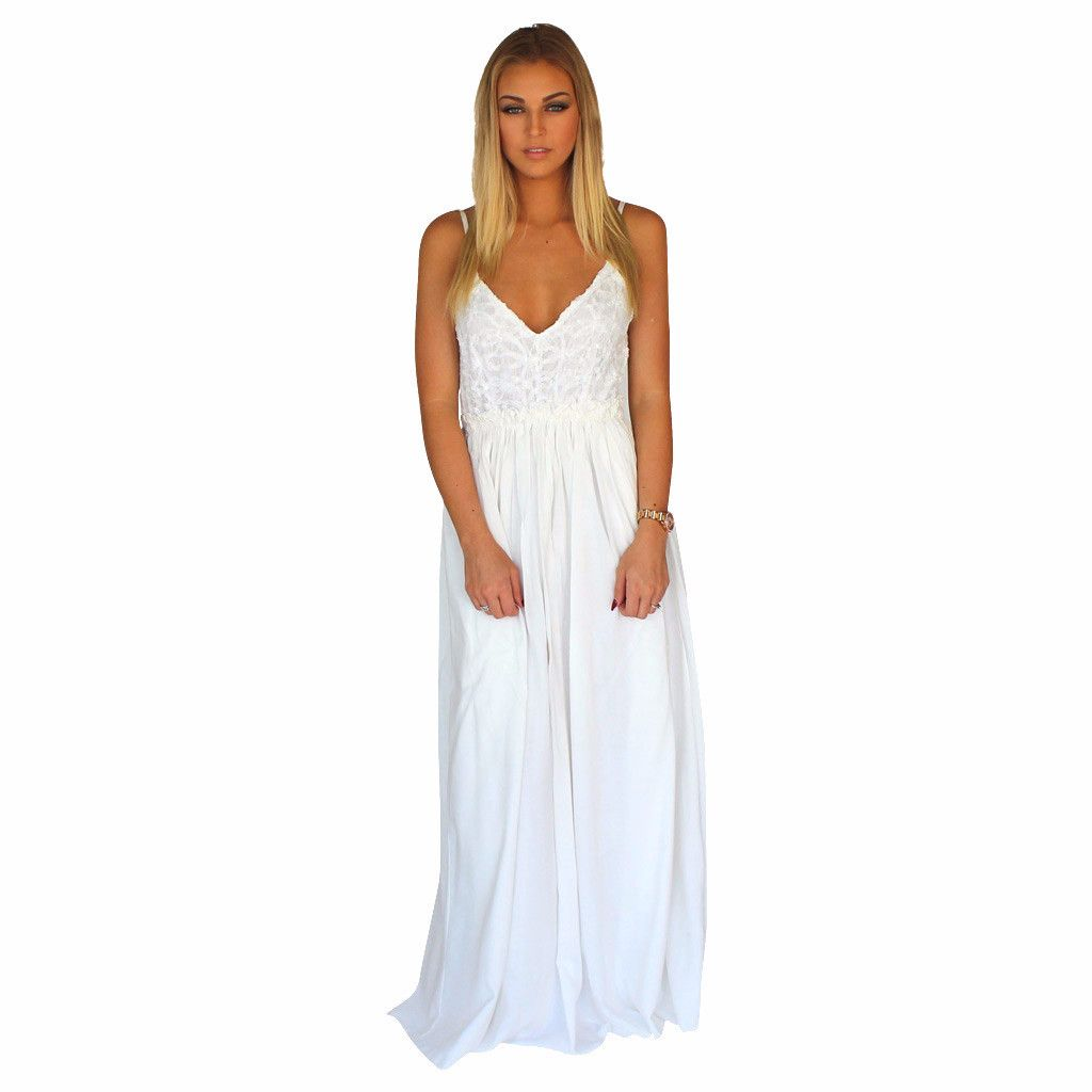 White lace front crochet accent open back maxi dress white lace white lace front crochet accent open back maxi dress ombrellifo Choice Image