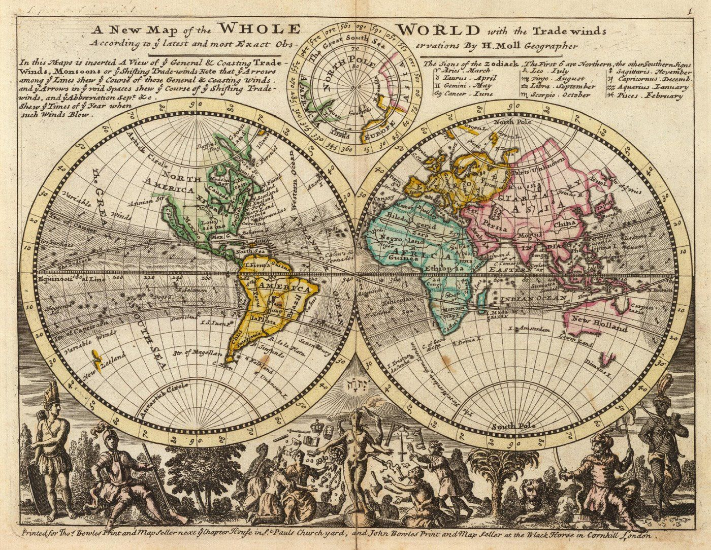 18th Century World Map With The Trade Winds From The German Or Dutch