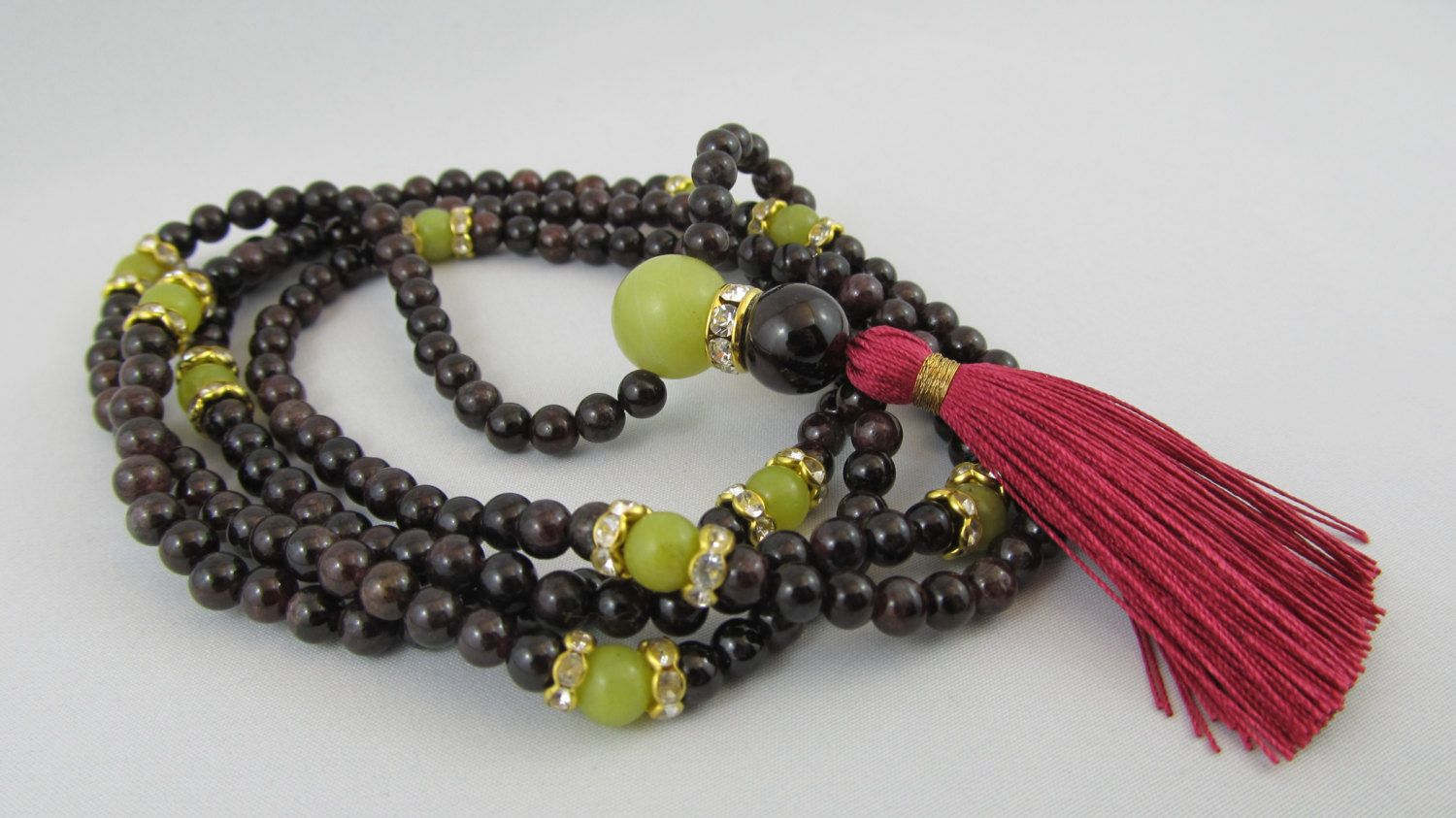 Ready to ship long tassel necklace in garnet and peridot serpentine - mala inspired necklace - One of a kind by Sphalie on Etsy