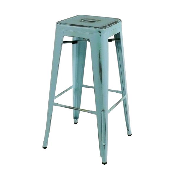 Barhocker Blau bistro barhocker shabby blau metal bar stool
