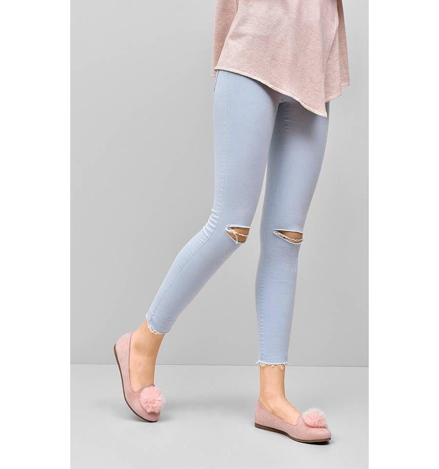 Lordsy Z Pomponem Clara Rozowe Sklep Immoda Pl Skinny Jeans Skinny Fashion