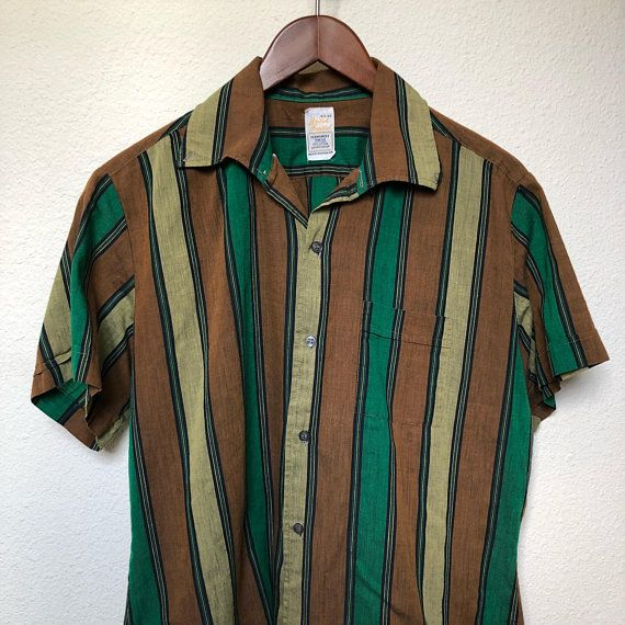 a12c846f 60s vintage striped shirt 1960s, mod men shirt short sleeve, grunge shirt  vertical striped retro, green brown yellow, permanent press, large