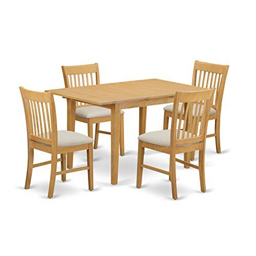East West Furniture NOFK5OAKC 5Piece Dinette Table Set Oak Finish ** Check this awesome product by going to the link at the image.Note:It is affiliate link to Amazon.