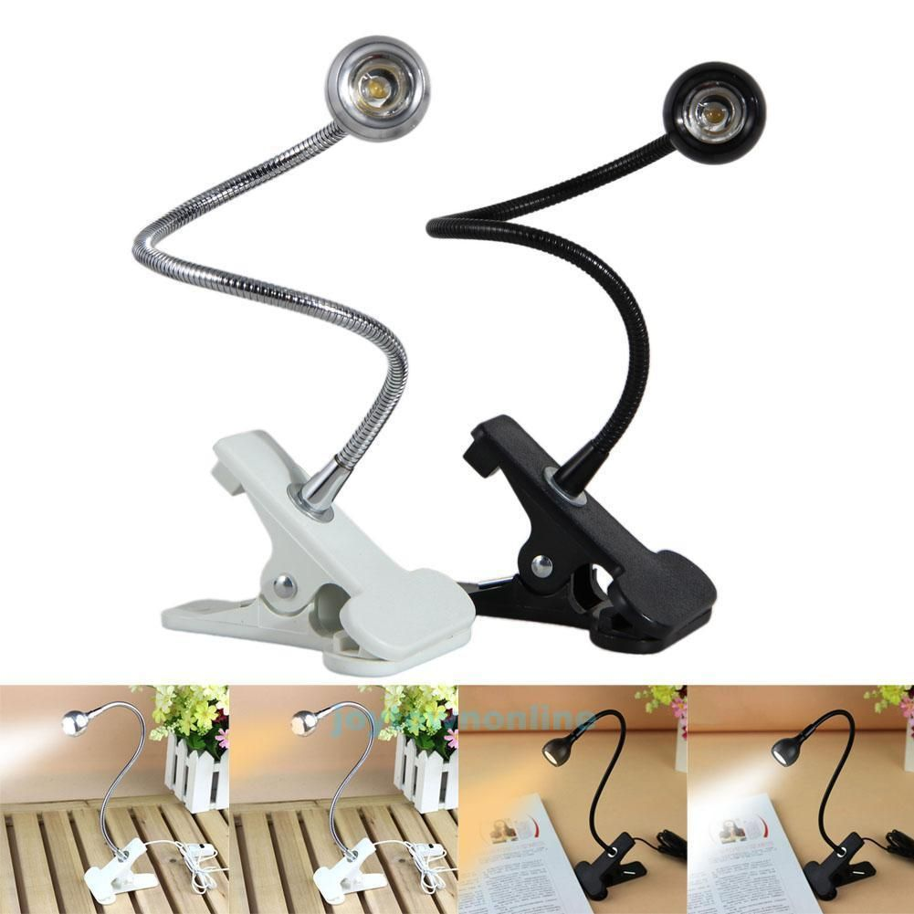 LED Flexible USB Reading Light Clip-On Beside Bed Table Desk Lamp