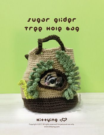 Crochet Pattern Sugar Glider Pouch Tree Hole Nest by Kittying ...