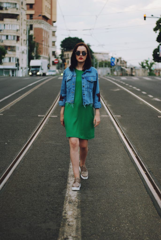 e2646cc631023 Green dress, star patches denim jacket, platform nude shoes, so real  sunglasses, summer outfit, casual dress outfit by Andreea Birsan