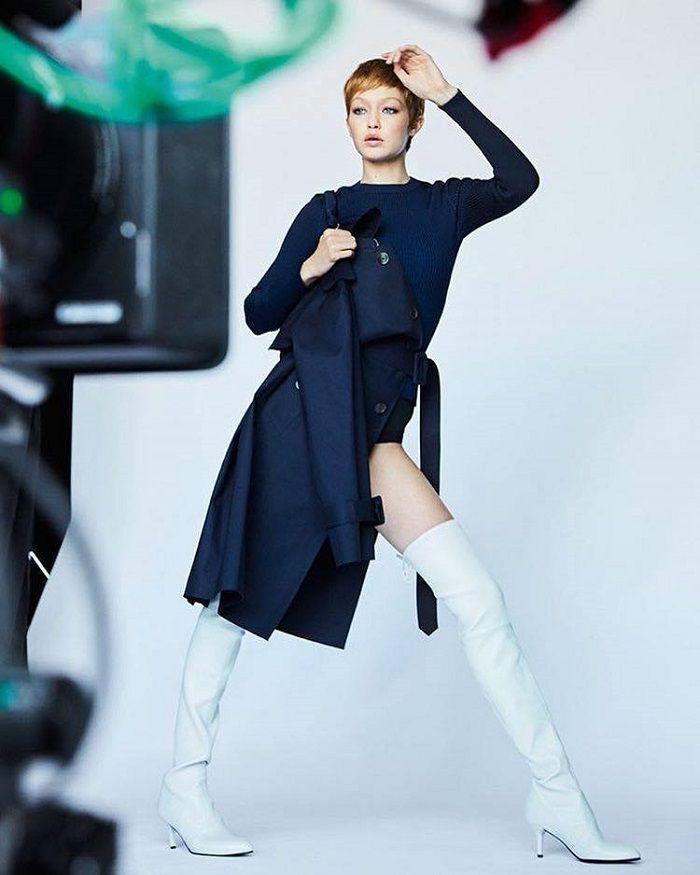 d8b17b453e5 Gigi Hadid Flaunts a Pixie Cut in Stuart Weitzman s New Campaign Tiemodel  boots