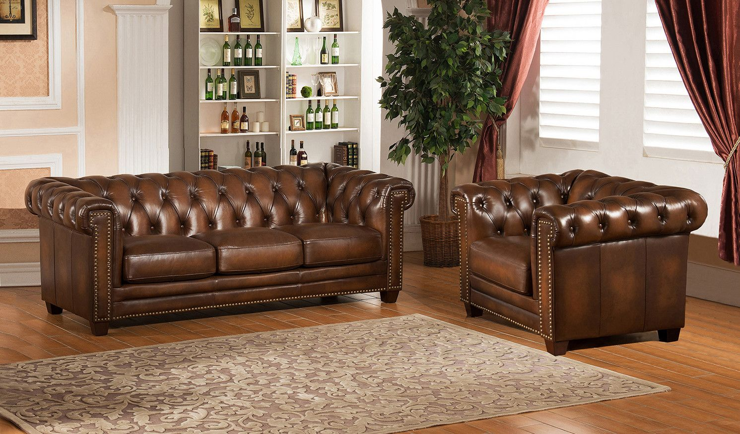 - Hickory Chesterfield Genuine Leather Sofa And Chair Set Leather