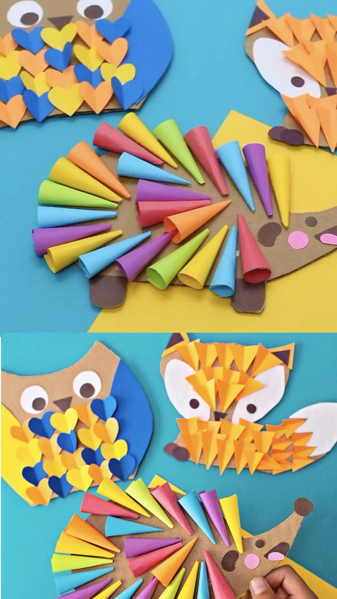 CARDBOARD OWL FOX HEDGEHOG WOODLAND ANIMAL CRAFT. Cute recycled kids craft and art. #hellowonderful
