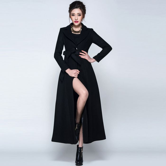 2016 Winter coat women Maroon/Black Wool Coat Trench Long Coat ...