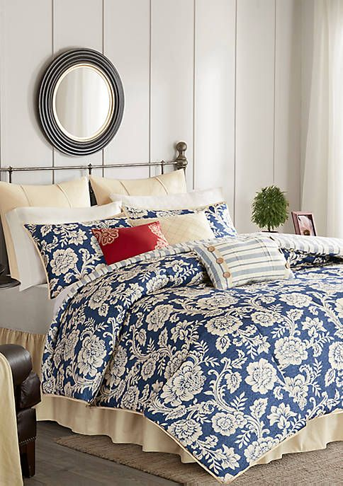 Lucy 9 Piece Cotton Twill Reversible Comforter Set Navy