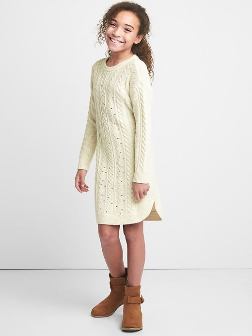 1fa14b96e96 Gap Girls Sequin Cable Knit Sweater Dress Off White