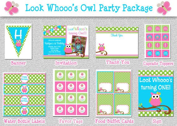 Owl Birthday Invitations Birthday Party Package Printable Ellie